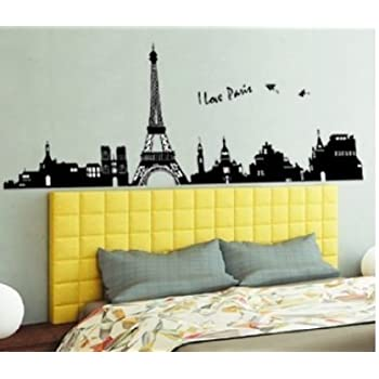 Homwish - Large I Love Paris Eiffel Tower Vinyl Home room Decor ...