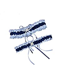 Xugq66 Lace Ruffle Floral Pearl Wedding Garters with Toss Away Set of 2