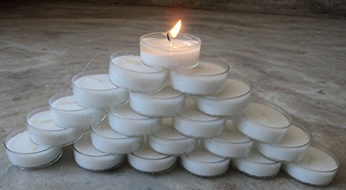 Light Carbonate - Pure Source India. 50 pcs pack of Premium quality Tea Light Candles smokeless 6.5 TO 8 hrs burning.coming in poly carbonate transparent holder fire retardant Premium quality.