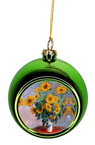 Lea Elliot Inc. Artist Claude Monet's Sunflowers Painting Bauble Christmas Ornaments Green Bauble Tree Xmas Balls