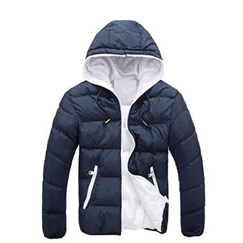BoBoLily Pockets Navy Side Sleeve Long Tops Down Coat with Outerwear Warm Hoodie Men's Drawstring Winter Coat fZ4qfr
