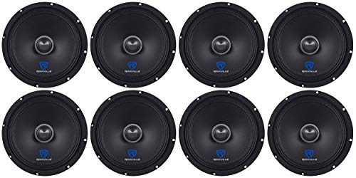 "(8) Rockville RXM84 8"" 2000w 4 Ohm Mid-Range Drivers Car Speakers, Mid-Bass"