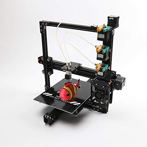 HE3D Tricolor DIY 3D Printer Kits 200X280X200,3 in 1 Out Printing, Three extruder Two Rolls of Filament for Gift