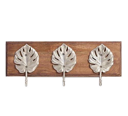 Hook Leaf Wall - WM Wall Mounted 3 Hook Coat Rack Hanger Holder Wood Silver Leaf Hooks