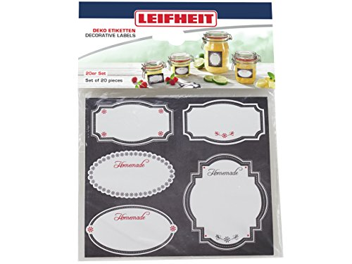 Leifheit 3218Decorative Paper Labels Stylish Jar Lid and give Self-Adhesive, Black/White, 13x 0.1x (Best Leifheit Glass Jars)
