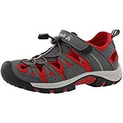 Kamik Boys' Wildcat Closed Toe Water Friendly Sandal Grey/Red 3 M US