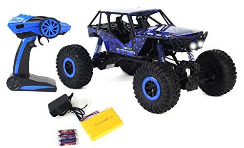 Mando a distancia Crazy SUV Rock Crawler 4WD azul juguete coche Rally RC 2.4 GHz escala 1:10 con suspensión de trabajo,...