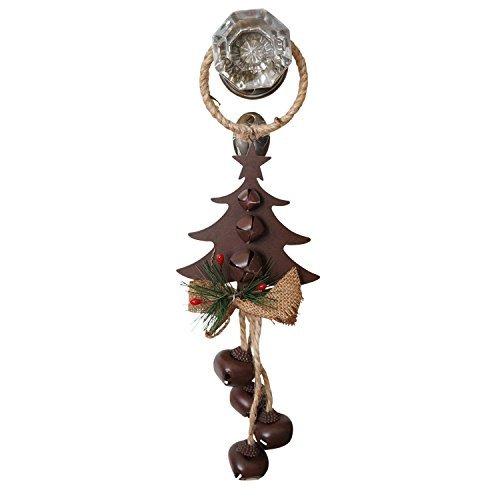 14 Inch Rustic Metal and Burlap Holiday Door Knob Hanger with 4 Jingle Bells Tree