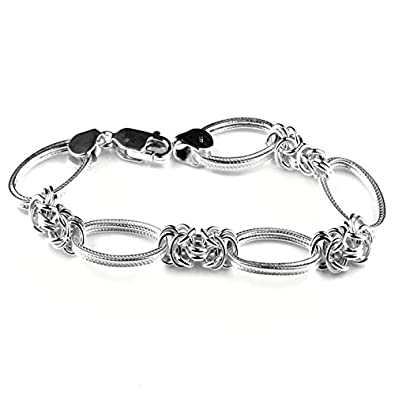 8e932612e40baa Arisidh oval design 92.5 sterling silver link bracelet For Women And  Girls.: Amazon.in: Jewellery