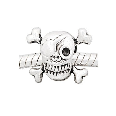 "Price comparison product image ""Pirate Skull"" European Style Charm Bead. Compatible With Troll, Zable, Baigi, Chamilia, And Many More Charm Bracelets."