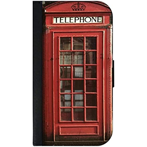 Telephone Booth-  Wallet Case for the Samsung Galaxy s7- (Not Compatible with the Samsung Galaxy s7 EDGE)-Black leather-Look Case with Flip Cover and Sales