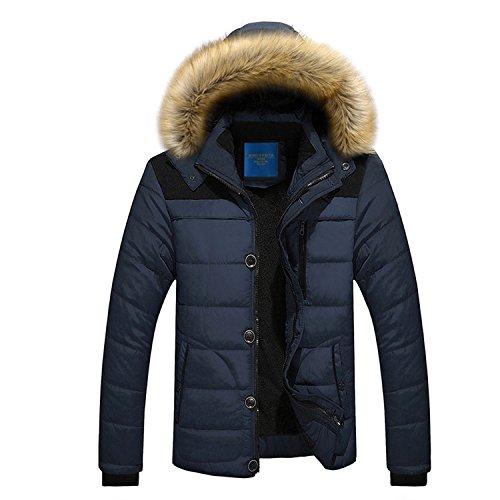 Feilongzaitianba Parka Jacket Men Long Jacket Men Hooded Warm Cotton Jacket Men Parka Thick Coat Men Outwear Blue XXXL by Feilongzaitianba