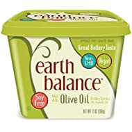 Earth Balance Buttery Spread Made with Olive Oil, Vegan, 15 Ounce Tub