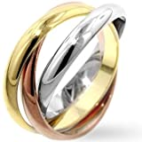 Rhodium and 14k Gold and Rose Gold Plated Triplet Ring Set in Tritone