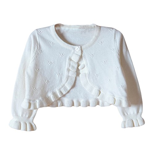 TAIYCYXGAN Baby Girls Princess Cardigan Button Sweater Knit Ruffle Bolero Shrug for Dresses Cover up White 80 ()