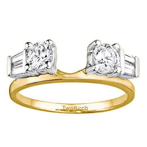 (Cubic Zirconia Solitaire Enhancer Wedding Ring in Two Tone Silver(1Ct) Size 3 to 15 in 1/4 Size Interval)