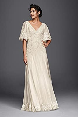 Lace Melissa Sweet Wedding Dress with Flutter Sleeves Style MS251133