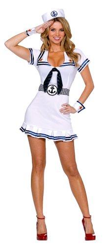 Dreamgirl Women's Sailor Costume, White/Navy, 1X/2X