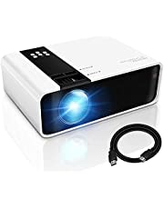 GRC Mini Projector, 1080P HD Supported Portable Movie Projector with 45000 Hrs LED Lamp Life, Compatible with TV Stick Video Game HDMI USB AV DVD for Multimedia Home Theater, Projector for outdoor