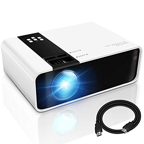 GRC Mini Projector, 1080P HD Supported Portable MovieProjectorwith 45000 Hrs LED Lamp Life, Compatible with TV StickVideo GameHDMIUSBAVDVDfor Multimedia Home Theater, Projector for outdoor