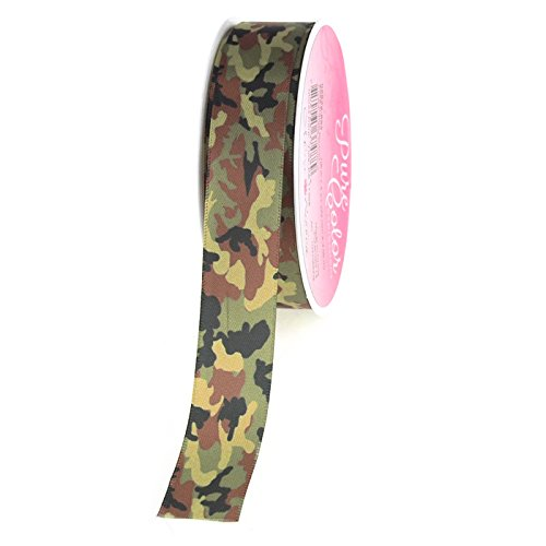 Homeford FMX005822892 Camouflage Green Polyester Ribbon, 7/8