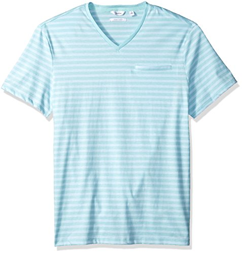 Calvin Klein Mens Short Sleeve T-Shirt Allover Stripe and Jacquard Welt Pocket