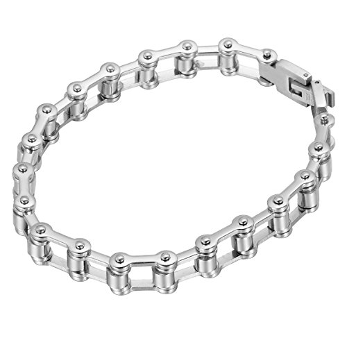 HOUSWEETY Stainless Bicycle Bracelet 22 6cmx7mm