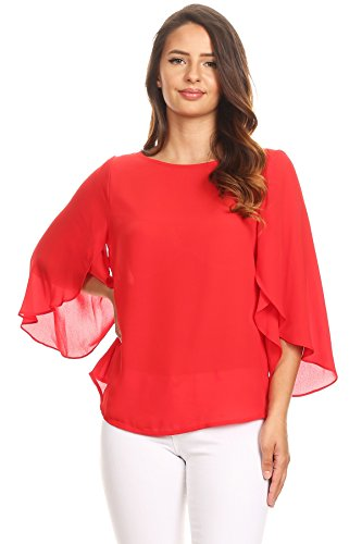 Via Jay Relaxed Comfy Fit 3/4 Open Flutter Sleeve Blouse TOP (Medium, Tomato Red) ()