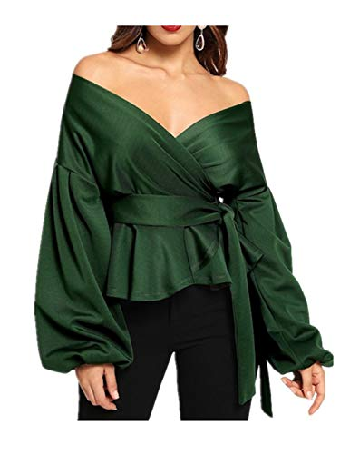 DEEBAI Women's Elegant V Neck Puff Sleeve Tunic Tops Belted Wrap Dressy Blouse (Green,8) ()