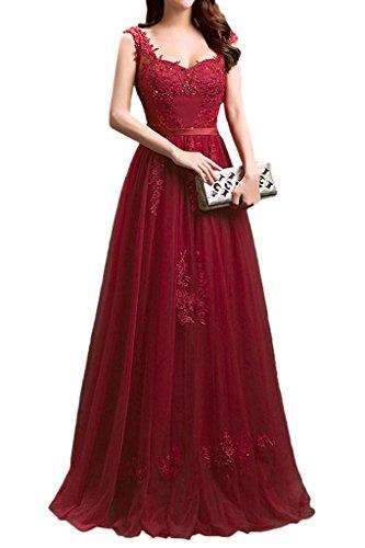 Dress Lace with Applique Bridesmaid Lace Sraps Party up Burgundy Dress Long Avril Elegant zvqxP86q