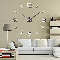 Frameless DIY Wall Clock, Large Mute Wall Clock 3D Wall Stickers with Mirror Numbers for Home Office Living Room Decorations Gifts (Silver)