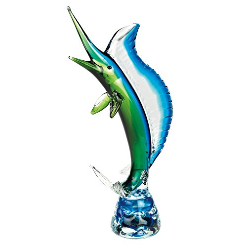 "Handmade Blue and Green Art Glass Large Sailfish 26""H, Famous Murano Style by GIFTS PLAZA"