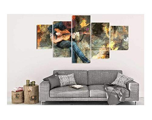 qingyuge 5 Panels Canvas Wall Art 5 Pieces Wall Art Picture Abstract Guitar Man Canvas Set for Living Room Printed On Canvas Framed