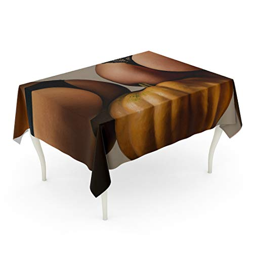Tarolo Rectangle Tablecloth 60 x 84 Inch Gray October Buttocks Ass and Pumpkin Sexy Halloween Girl Big Bum Trick Treat Head Jack Lantern Carved Funny Yellow Back Table Cloth ()
