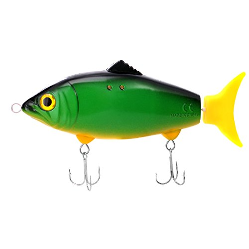 ARTITAN Hard Moving Fishing Lure Water Activated Lifelike Hard Bait for Northern Pike Largemouth Bass Trout Salmon Walleye Muskie in Freshwater and Saltwater (14cm)(Yellow) (Best Bait For Northern Pike Fishing)