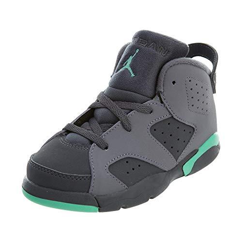 Nike Jordan Toddlers Jordan 6 Retro GT Cmnt Grey/Grn Glw/Drk Gry/Grn G Basketball Shoe 7 Infants US