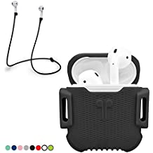 AirPod Case with strap. Full Protective Cover Portable Silicone Skin with Anti-lost Strap for Apple AirPods (Wrinkled Black)