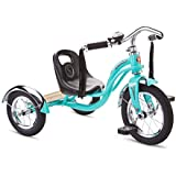 Schwinn Roadster Tricycle with Classic Bicycle Bell and Handlebar Tassels, Featuring Retro Steel Frame and Adjustable Seat, for Children and Kids Ages 2-4 Years Old, Teal