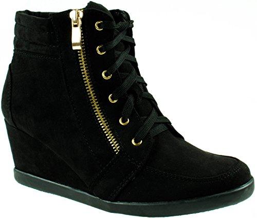 Altijd Voor Dames Peggy-56 Lace Up Sneakers Met Contrasterende Sleehak Zwart