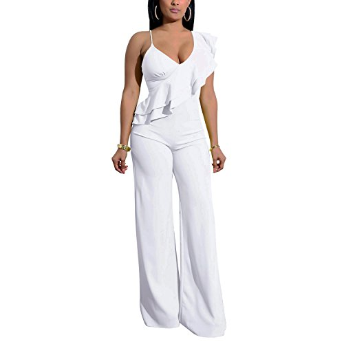 Cosics White Jumpsuits & Rompers for Women, V-Neck One Piece Ruffle Wide Leg Jumpsuit (Size:12W-14W)