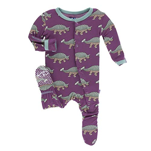 Kickee Pants Little Boys and Girls Print Footie with Snaps - Euoplocephalus, 12-18 Months -