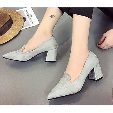Heels Pumps eu36 Mehr Normal Wildleder Grau Pumps LvYuan Schwarz Damen High Blau 12 us6 cm Blockabsatz Kleid Gray Walking GGX cn36 Sommer uk4 amp; Rot 0pvnBt