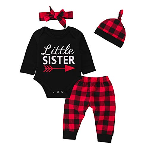 FEITONG Baby Girls Long Sleeve Letter Top + Plaid Pants + Ha