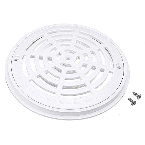 8 Inch White Universal Replacement Cover Main Drain with Screws Fit for in-Ground Swimming Pools Accessary