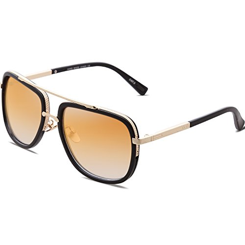 SojoS Classic Square Aviator Sunglasses Oversized Double Bar Metal Frame SJ1080 C4 Black Frame/Gold Mirrored Lens