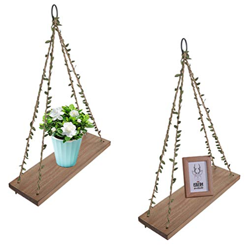 - OROPY Wood Hanging Floating Shelves 15.75 inches, Rustic Swing Rope Home Decor Wall Shelf, Pack of 2, Brown