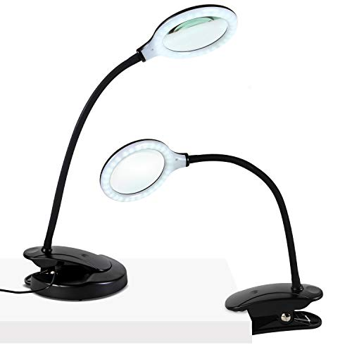 Brightech Lightview Portable, Battery Powered LED Magnifying Lamp - Lighted Glass Magnifier with Stand & Clamp for Desk, Table - Dimmable, Bright Light for Reading, Crafts- 1.75x Magnification - Black