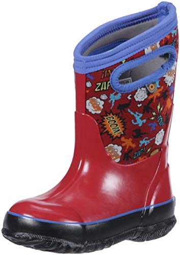 Bogs Classic High Waterproof Insulated Rubber Neoprene Rain Boot Snow, Super Hero Red/Multi, 13 M US Little Kid -