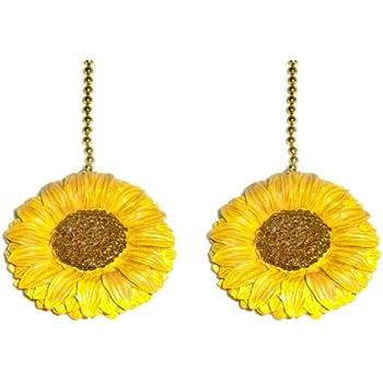 Set Of Two Sunflower Ceiling Fan Light Pulls Chain Decor