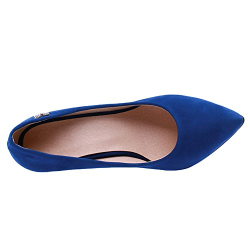 SJJH Court Shoes with Thin Heel and Suede Materail Working Heels with Large Blue 5236zg9edY
